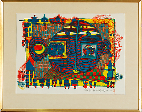 Friedensreich hundertwasser, lithograph in colours, 1967, signed 77/90.