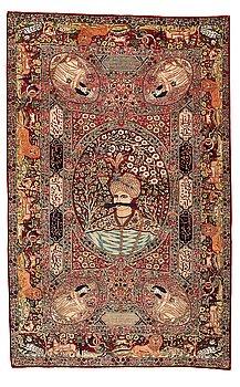 308. A rug, antique Kerman Laver figural, ca 209,5-211 x 131-133,5 cm.