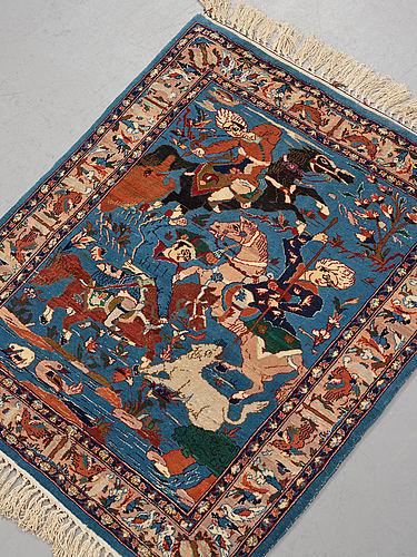 A rug, old esfahan, part silk, ca 87 x 75 cm.