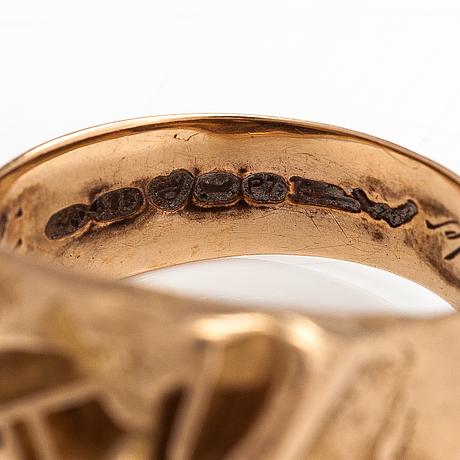 "Björn weckström, a 14k gold ring ""samurai"". lapponia 1970."