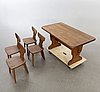 A five pieces 1930:s pine dining set.