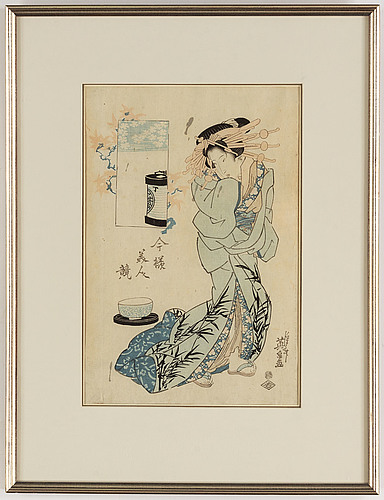 Keisen eisen (1790-1848), a colour woodblock print, japan, late 19th/early 20th century.