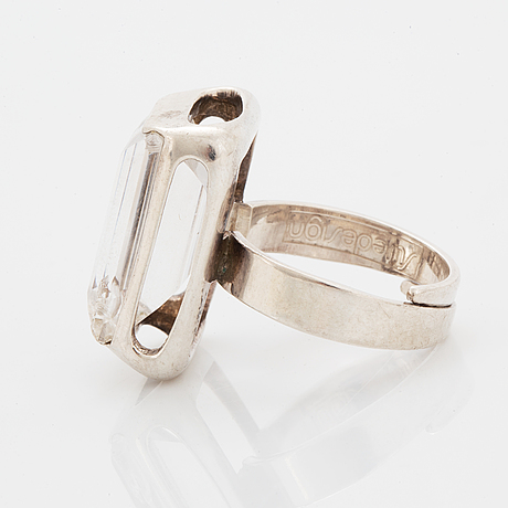 A silver and rock crystal ring, bengt hallberg.