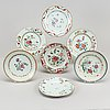 11 famille rose export porcelain dishes, qing dynasty, qianlong (1736-95).