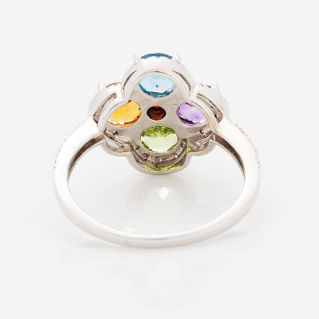 Topaz, amethyst, peridot, citrine and brilliant-cut diamond flower ring.