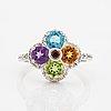 Topaz, amethyst, peridot, citrine and brilliant-cut diamond flower ring.