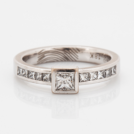 Princess-cut diamond ring.