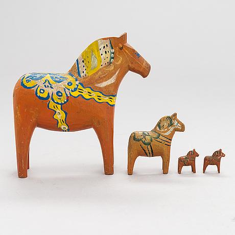 Dalecarlian horses, 4 pcs, mid 20th-century.