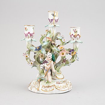 A Meissen porcelaine candelabra, second half of the 19th century.