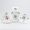 Three meissen dishes and 1 bowl, 19th and 20th century.
