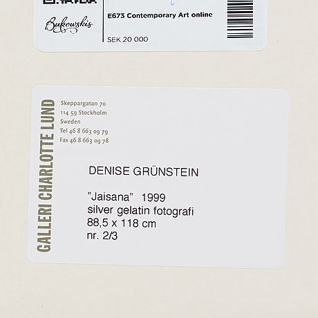Denise grünstein, photograph signed and numbered 2/3 on verso.