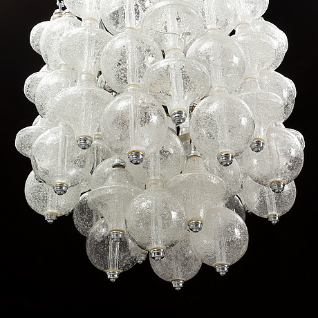 A german glass and chrome chandelier, 1960's/70's.