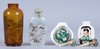Snusflaskor, 4 st, glas och porslin, 1900-tal.