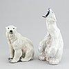 Two porcelain polar bear figurines, one marked royal copenhagen, 1966.