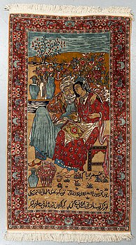 A rug, an old Pakistani figural, ca 214-216 x 121,5-123 cm (as well as ca 1-2 cm flat weave at the ends).