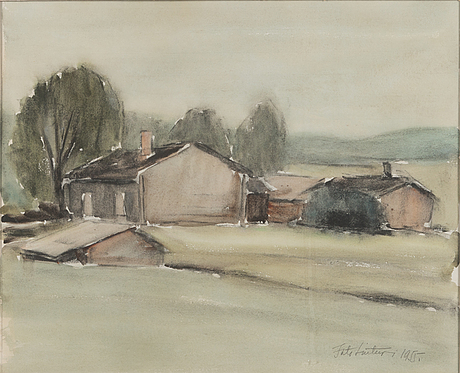Into linturi, watercolour, signed and datged 1955.