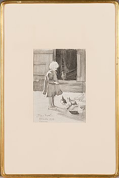 Dora Wahlroos, drawing, signed and dated 1905.