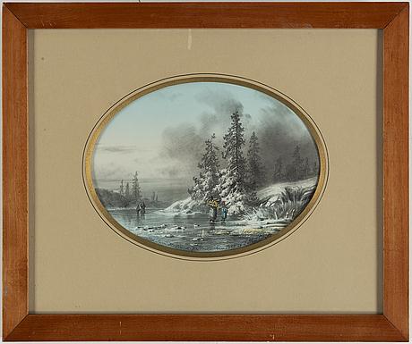 Joseph magnus stäck, watercolour, signed and dated 1855.
