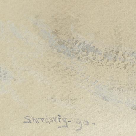 Christian skredsvig, watercolour, signed skredsvig and dated -90.