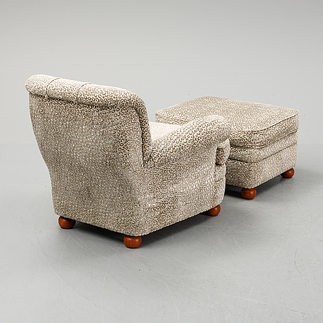 Josef frank, a model 336 easy chair with ottoman, svenskt tenn.