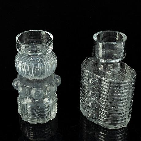 Po ström, two glass vases, alsterfors glasbruk, around 1970.