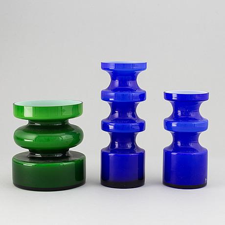 Po ström, three glass vases, alsterfors glasbruk ca 1970.