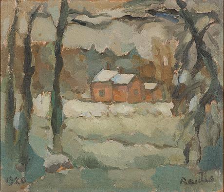 Väinö rautio, olja på duk, signerad och daterad 1920.
