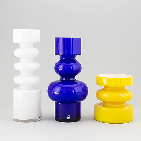 Po ström, three glass vases, alsterfors glasbruk ca 1970.