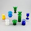 Po ström, a set of 8 glass vases, alsterfors glassworks, sweden, 1960/70's.