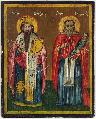 Icons, 2, tempera on panel, russia, greece, 19th century.