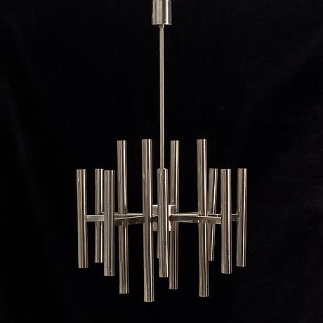 A chrome ceiling light, 1960's/70's.