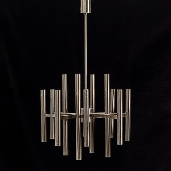 A chrome ceiling light, 1960's/70's.