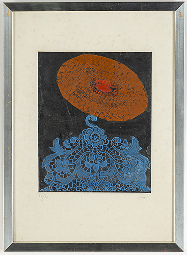 Enrico baj, litografi på folie, signerad och numrerad 36/60.