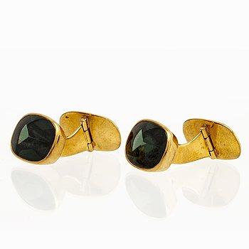 Cufflinks 18K gold green quartz approx 15 x 10 mm, total weight 10,3 g.