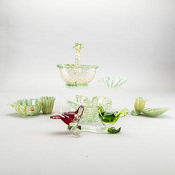 Samling glas, 6 st, Murano Venedig, 1900-talets mitt.