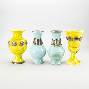 Four mid 20th century ceramic vases from Zaccagnini, Firenze Italy.