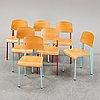 Seven 'standard' chairs by jean prouvé, prouvé collection 2002, vitra.