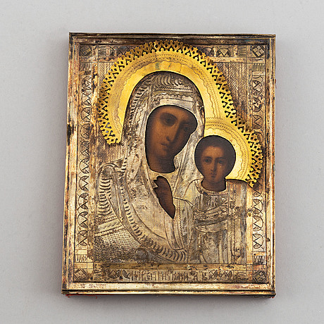 A russian icon with ochlad, 20th century.