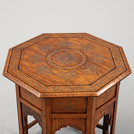 An anglo indian folding octagonal side table.