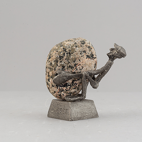 """A pewter and stone sculpture """"lyftet"""" by henry gustafsson, vimmerby, signed 1994."""