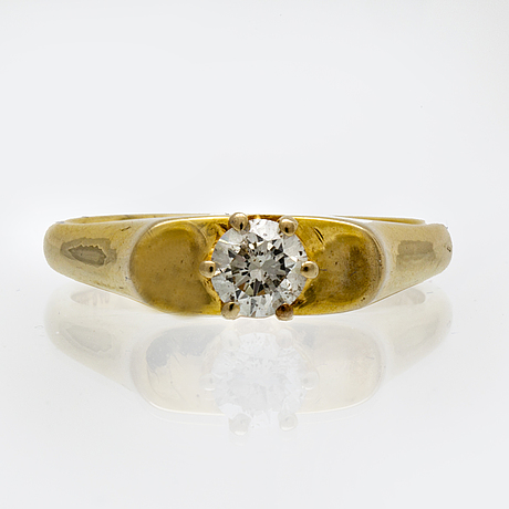 Ring 14k gold 1 brilliant-cut diamond approx 0,40 ct approx i si.