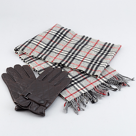 Burberry, a wool scarf and a pair of leather gloves.