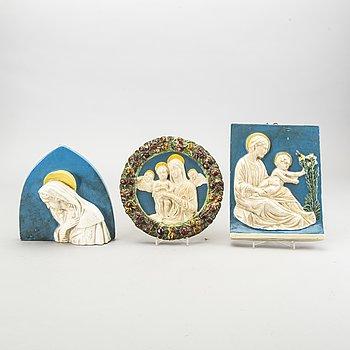 Three mid 20th century ceramice plaques by Bassano del Grappa Vicenzia Italy.