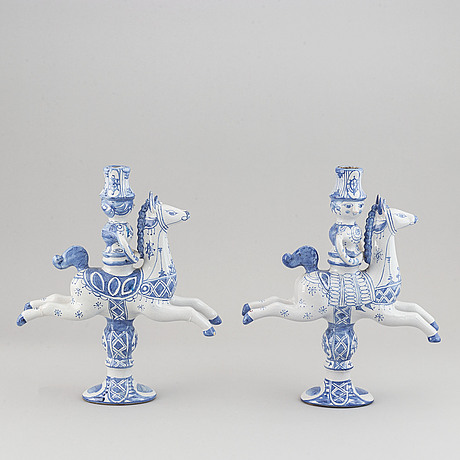 Björn wiinblad, a pair of faiance candle sticks for three candles, dated 1979.