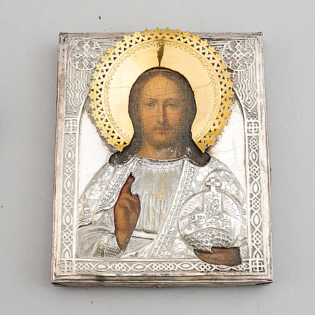 Icon, russia, 20th century, tempera on panel with brass ochlad.