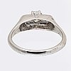 Ring 14k whitegold 1 brilliant-cut diamond 0,39 ct inscribed.