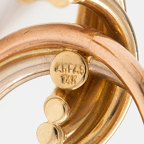 Örhängen, 14k guld. märkta arpos.