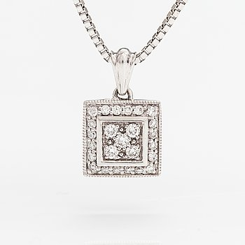 A 14K white gold necklace with diamonds ca. 0.20 ct in total. Kultajousi, Helsinki.