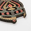 Three probably 18th / 19th century painted wooden folk art distaff ornaments.