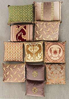 A set of 11 20th century first half pillows by Luigi Bevilaqua och Rubelli, Venice Italy.
